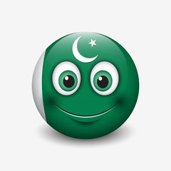 Cute emoticon isolated on white background with Pakistan flag