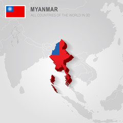 Myanmar painted with flag drawn on a gray map.