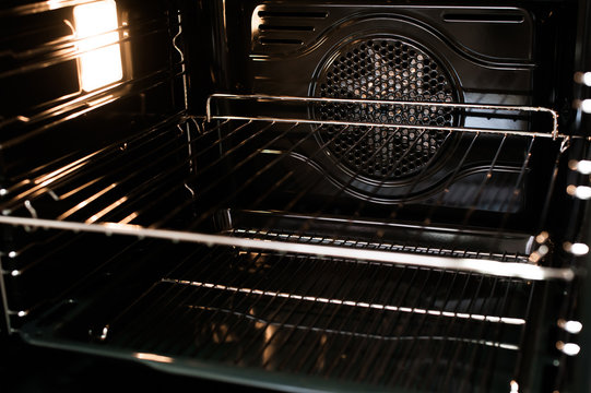 The inside of a stove new oven