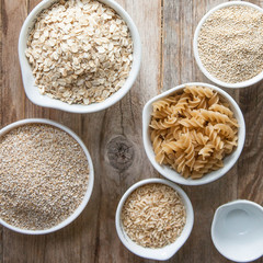 Overhead view of dried foods in bowls