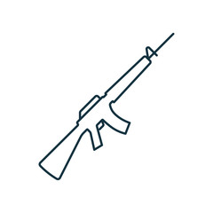 M16 assault rifle isolated line icon on white background, weapon