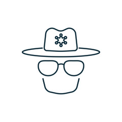 Police isolated line icon on white background