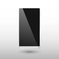 Black and White Smart Phone without frame Vector Illustration isolated on background