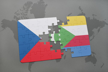 puzzle with the national flag of czech republic and comoros on a world map