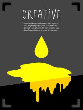 Yellow paint drip, splash background