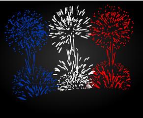 feu d'artifice fête nationale bleu blanc rouge