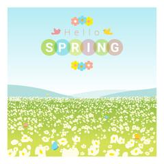 Hello spring landscape background , vector , illustration