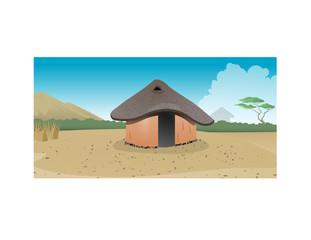 cartoon vector illustration of an African hut village