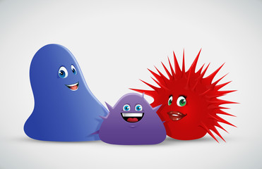 cartoon vector illustration of spiky jelly creatures