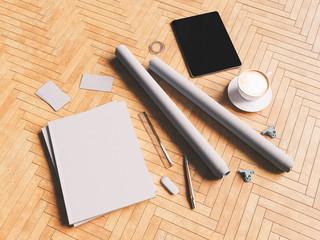 Branding mock up for your design presentation. 3D illustration