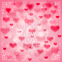 Valentines day background with pink hearts