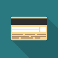 Credit card icon with long shadow. Flat design style. Credit card simple silhouette. Modern minimalistic icon in stylish colors. Web site page and mobile app design vector element.