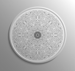 Circular monochromatic lace floral pattern. Mandala style. Decoration plate. Indian art. Can be used for invitation, menu, card design, pillow design, banners, retro button, signs and others.