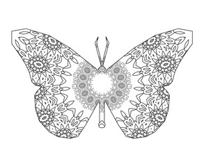 Silhouette of butterfly with floral mandala circular ornament.
