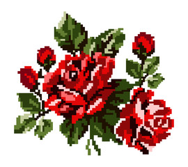 Color bouquet of flowers (roses) in red and green tones using traditional Ukrainian embroidery elements.  Can be used as pixel-art, card, emblem, icon.