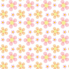 Floral seamless pattern. Flowers repeating texture. Botanical endless background. Vector illustration