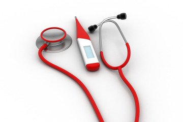 Digital thermometer with stethoscope