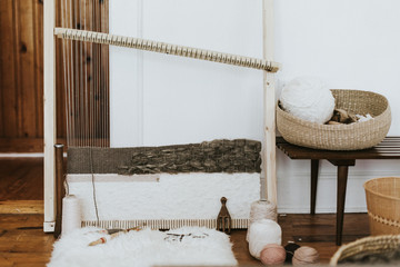 Weaving loom with selection wool, still life