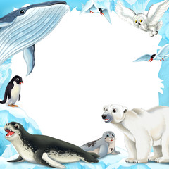 Cartoon winter frame with arctic animals - illustration for children