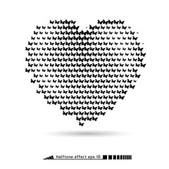 Heart. Halftone pattern effect. No gradient.