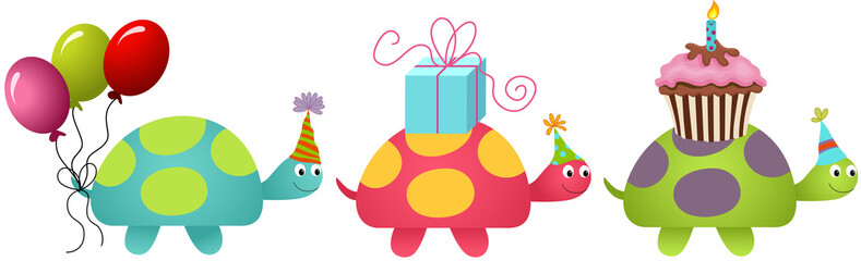 Three Birthday Turtles