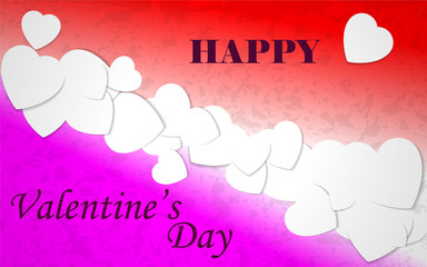 Happy Valentines Day holiday greeting postcard with white hearts on a red and pink background.