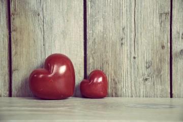 Grußkarte - Liebe - zwei rote Herzen