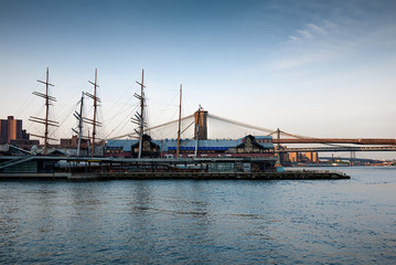 South Street Seaport, Pier 17, in lower Manhattan in the early evening