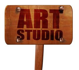 art studio, 3D rendering, text on wooden sign