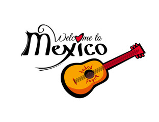 Welcome to Mexico template isolated on white background. Lettering element for your design. Vector illustration