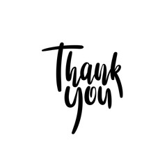 Thank You Hand Lettering Card. Modern Calligraphy. Vector Illustration. Isolated on White Background.