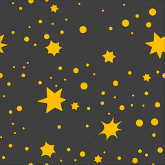 Vector seamless pattern with star and dots. Retro print background. Chaotic elements, Effect of sky. Abstract texture. Effect of sky. Design template wallpaper, wrapping, fabric, textile