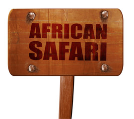 african safari, 3D rendering, text on wooden sign