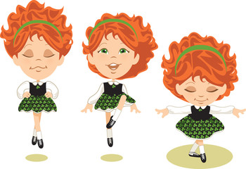 Young red-haired Irish dancer performs traditional jig.