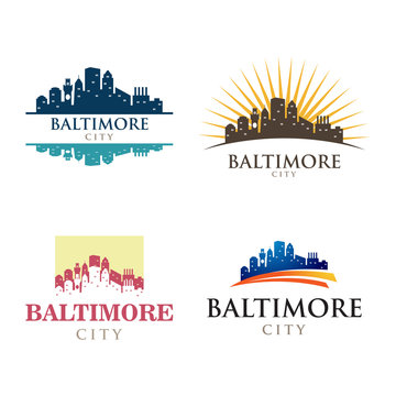 Baltimore Maryland in Cityscape Skyline Silhouette Logo