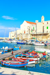 Foto auf Acrylglas Stadt am Wasser Fishing boats in small port Giovinazzo near Bari, Apulia, Italy