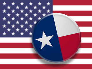 US State Button: Texas Flag Badge, 3d illustration on blurred USA flag
