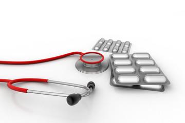 Medicine strip with stethoscope