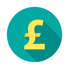 Pound sterling circle icon with long shadow. Flat design style. Pound sterling simple silhouette. Modern round icon in stylish colors. Web site page and mobile app design vector element.