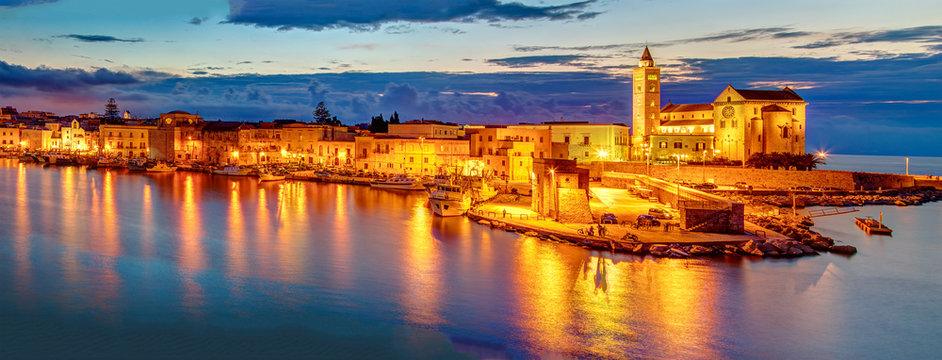 Trani cathedral in the evening, Apulia region, Italy