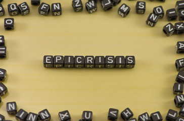 Word epicrisis on a wooden background