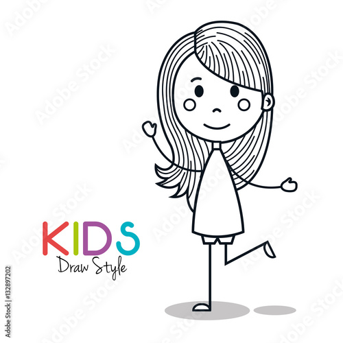 Cute little girl drawing vector illustration design