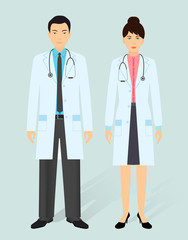 Hospital staff concept. Man and woman asian doctors in medical gowns. Medical people.