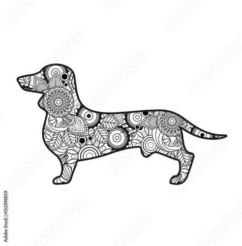 Vector Illustration Of A Dog Mandala For Coloring Book Cane Mandala Vettoriale Da Colorare