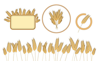 Bottom page wheat field, wheat frame and icon. design elements. Vector. Isolated illustration.