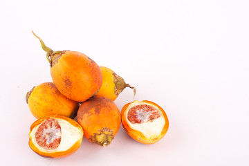 Betel nut is used in industrial textile dyes on white background isolated.