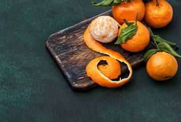 Tangerines fruits Orange mandarine rustic kitchen board