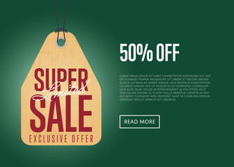 Super sale discount sticker isolated vector illustration. Exclusive offer promo, limited sale tag, advertisement retail label, 50% off price discount, special shopping symbol. Modern style sale sign