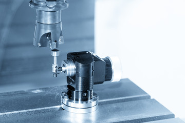 CNC machine spindle with  automatic tool length measurement with blue scene