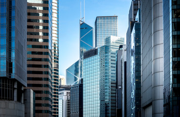 Commercial buildings stretch up to the sky in Hong Kong